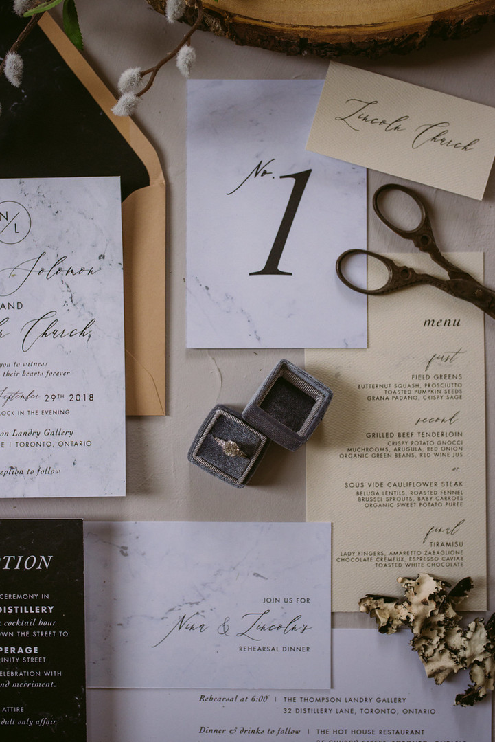 The Vila Suite Table Number, Seating Card, Menu and Rehearsal Dinner Invitation