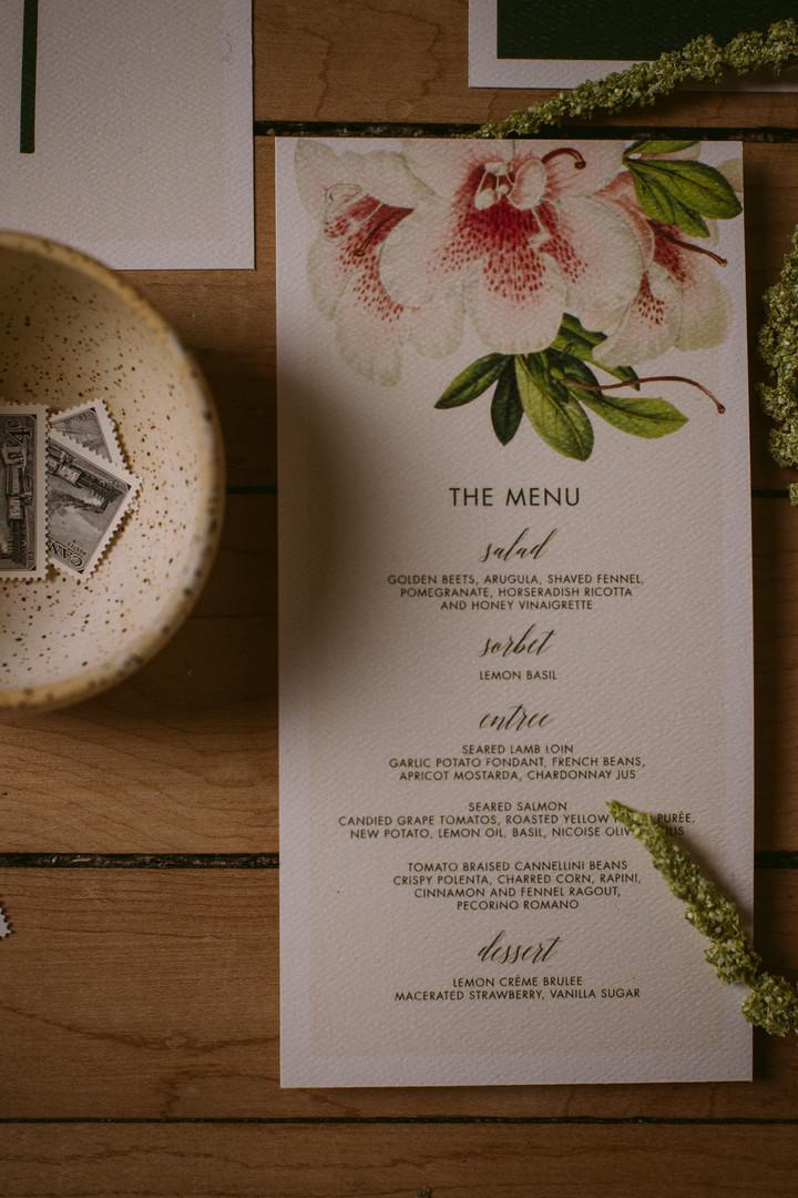 The Modern Botanist Wedding Menu