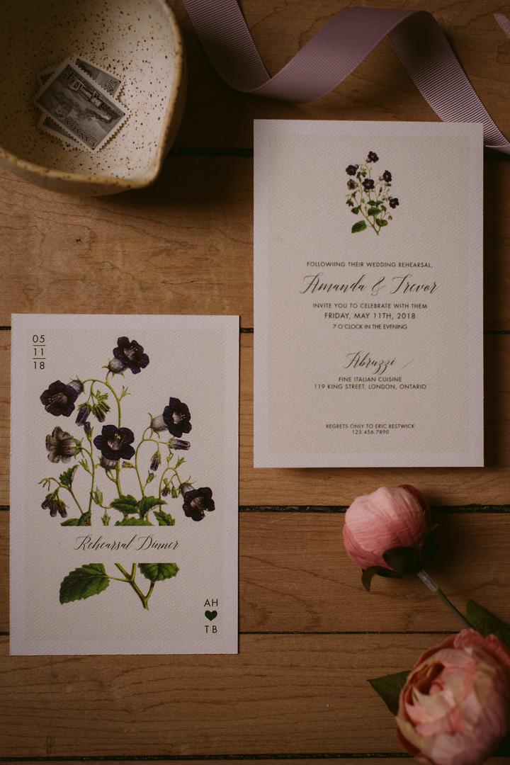 The Modern Botanist Rehearsal Dinner Invitation