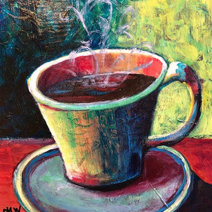Painting a series of warm cups of whatev