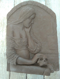Magdalene with the smoking flame clay relief