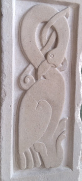 celtic bird stone carving