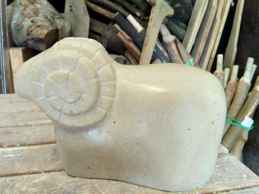 Sheep / ram stone carving