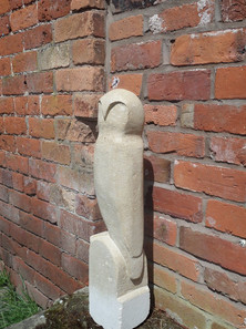 Limestone carved abstract owl