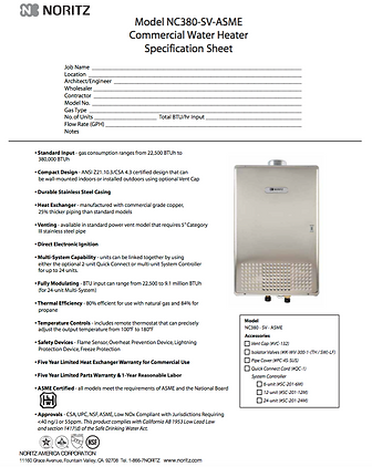 Noritz NC380 Spec. sheet