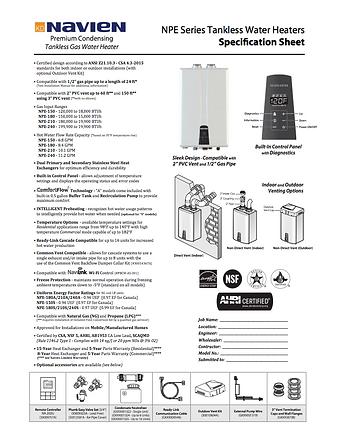 Navien Tankless Water Heater Spec Sheet.