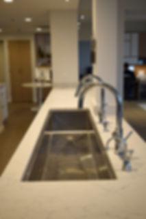 Laura Kraft Architect Seattle residential architecture, Seattle woman architect, Seattle Residential Remodel, large kitchen island, 6' kitchen sink, condo