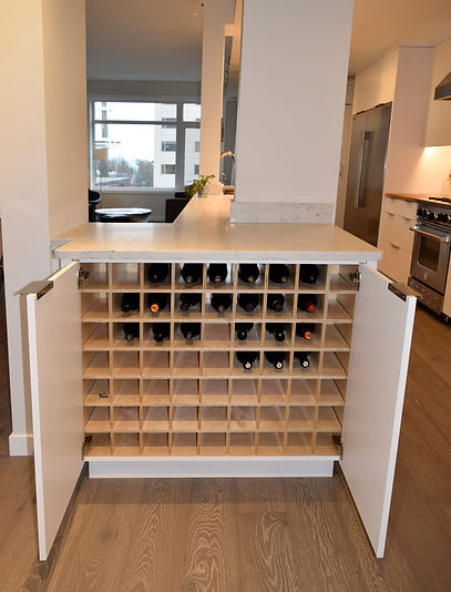 laura kraft architect, built-in wine storage, wine cabinet, kitchen island wine storage Laura Kraft Architect Seattle residential architecture, Seattle woman architect, Seattle Residential Remodel