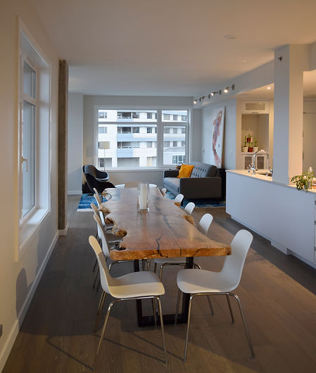 live-edge wood table, condominium, modern iterior, flexible space, urban living,Laura Kraft Architect Seattle residential architecture, Seattle woman architect, Seattle Residential Remodel