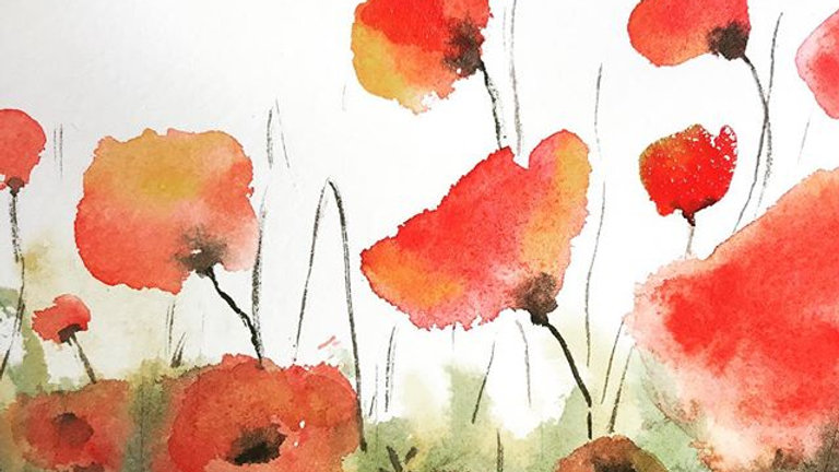 Framed Poppies Original Watercolor Painting