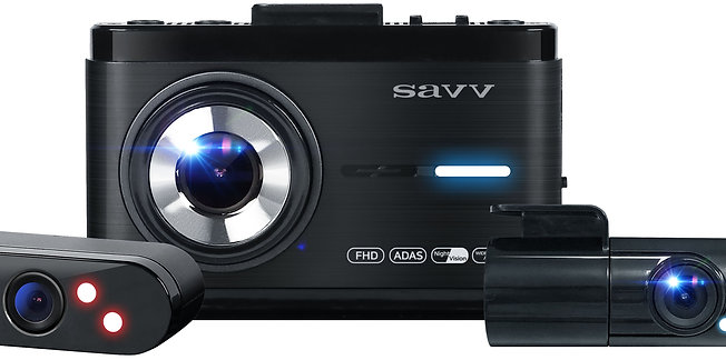 SAVV M35-H2 | 3 Channel Dashcam, 1080p Built-in Dual-Core CPU to support 30 FPS