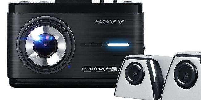 SAVV M35-S2 | 3 Channel Dashcam, Front FHD (1920x1080p), Side HD (1280x720p)