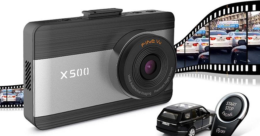 "FineVu X500 Dash Cam (64GB), F/R Full HD 1080P, 3.5"" Touch Screen IPS, Night"
