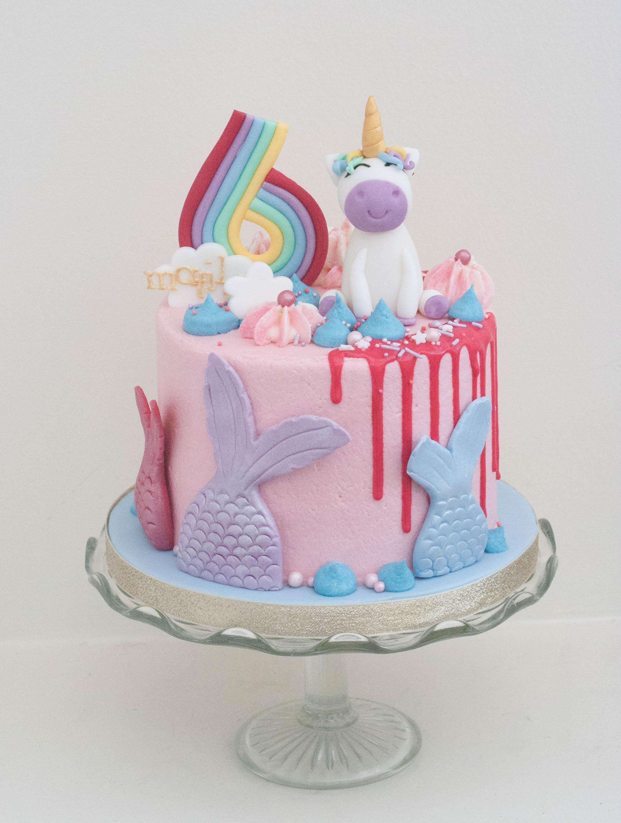 unicorn mermaid vegan cake