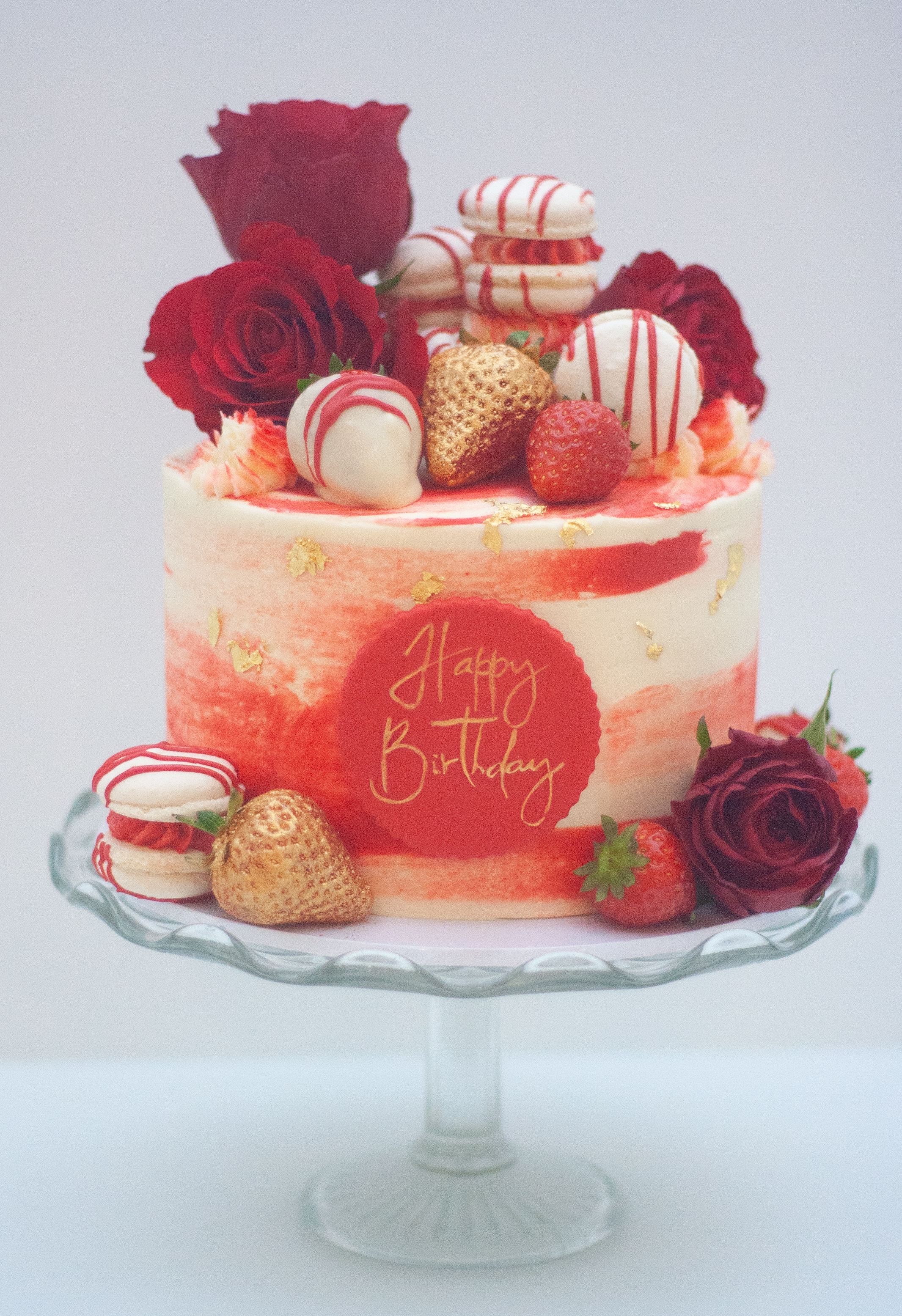 red gold watercolour roses strawberries