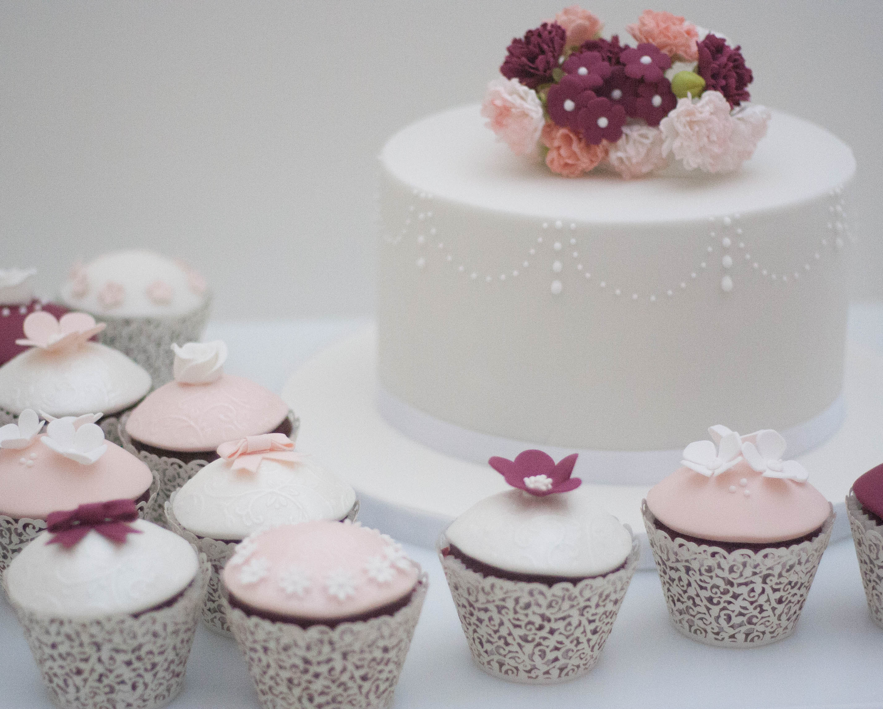 blush burgundy vegan wedding cake and cu