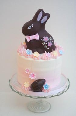 Easter rabbit choc raspberry rose cake