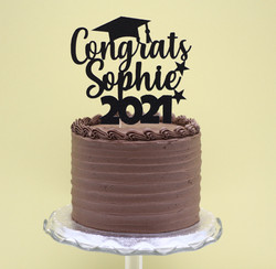 graduation frosted cake black topper