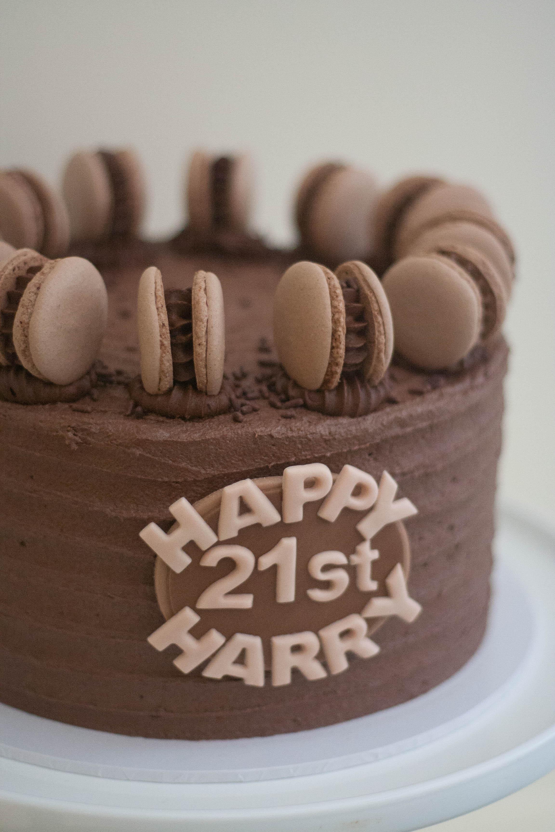 8 inch vegan choc cake with macarons clo