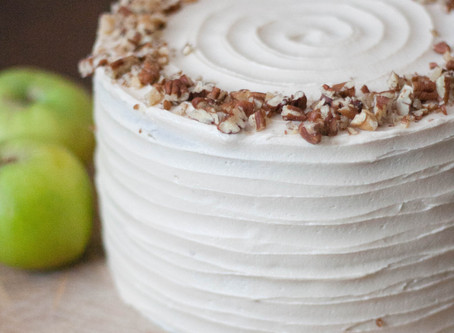 Vegan spiced apple cake with cream cheese frosting