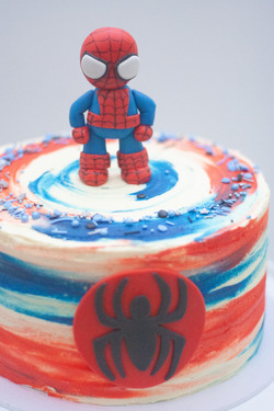 Spiderman frosted cake