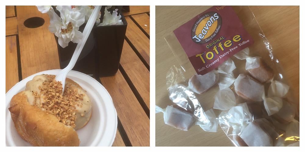 Salted caramel ice cream stuffed doughnut and Jeavons toffee
