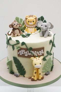 safari lion monkey elephant giraffe cake-2