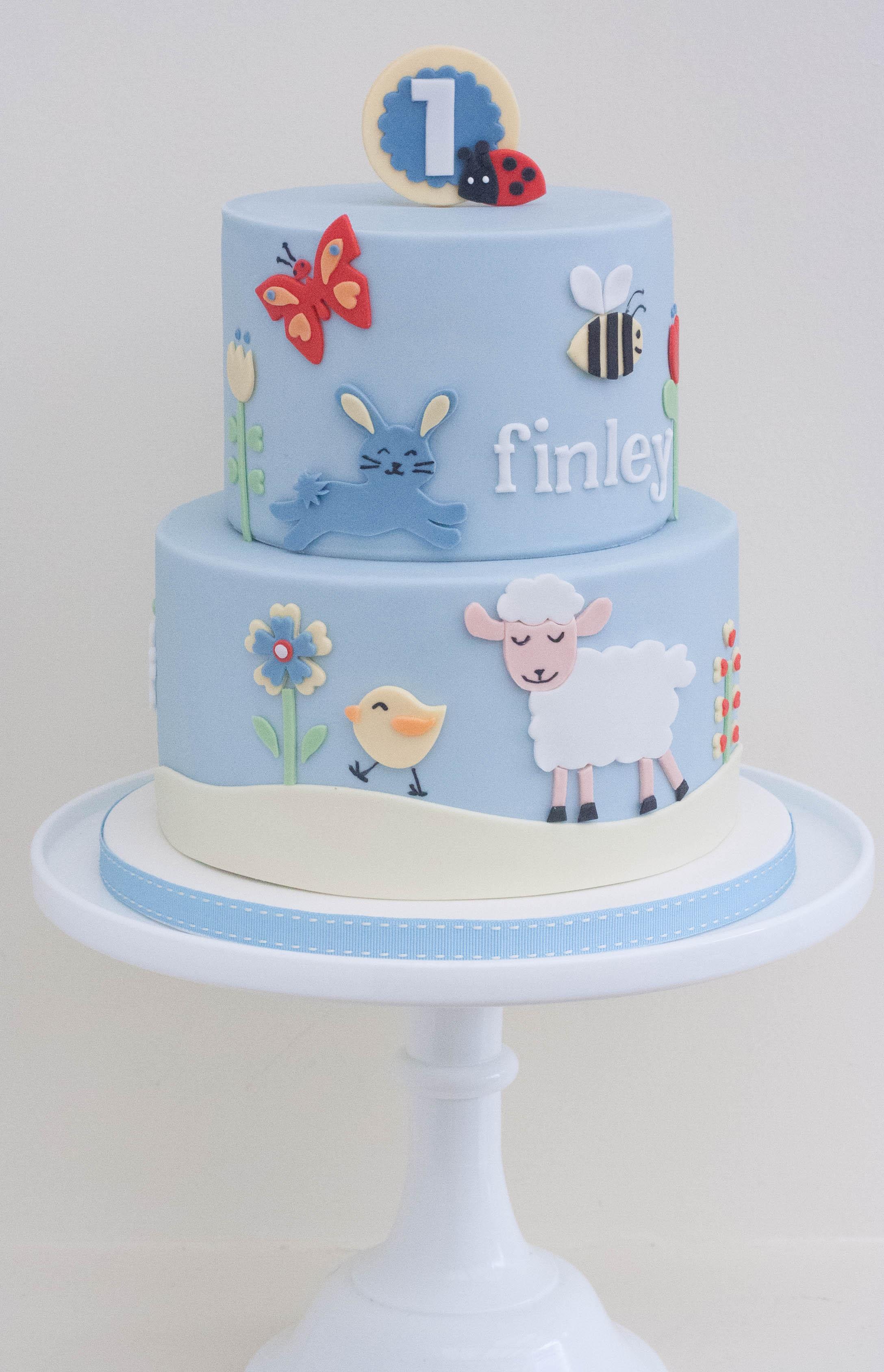 spring animals vegan cake