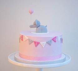 pink elephant baby girl birthday cake vegan
