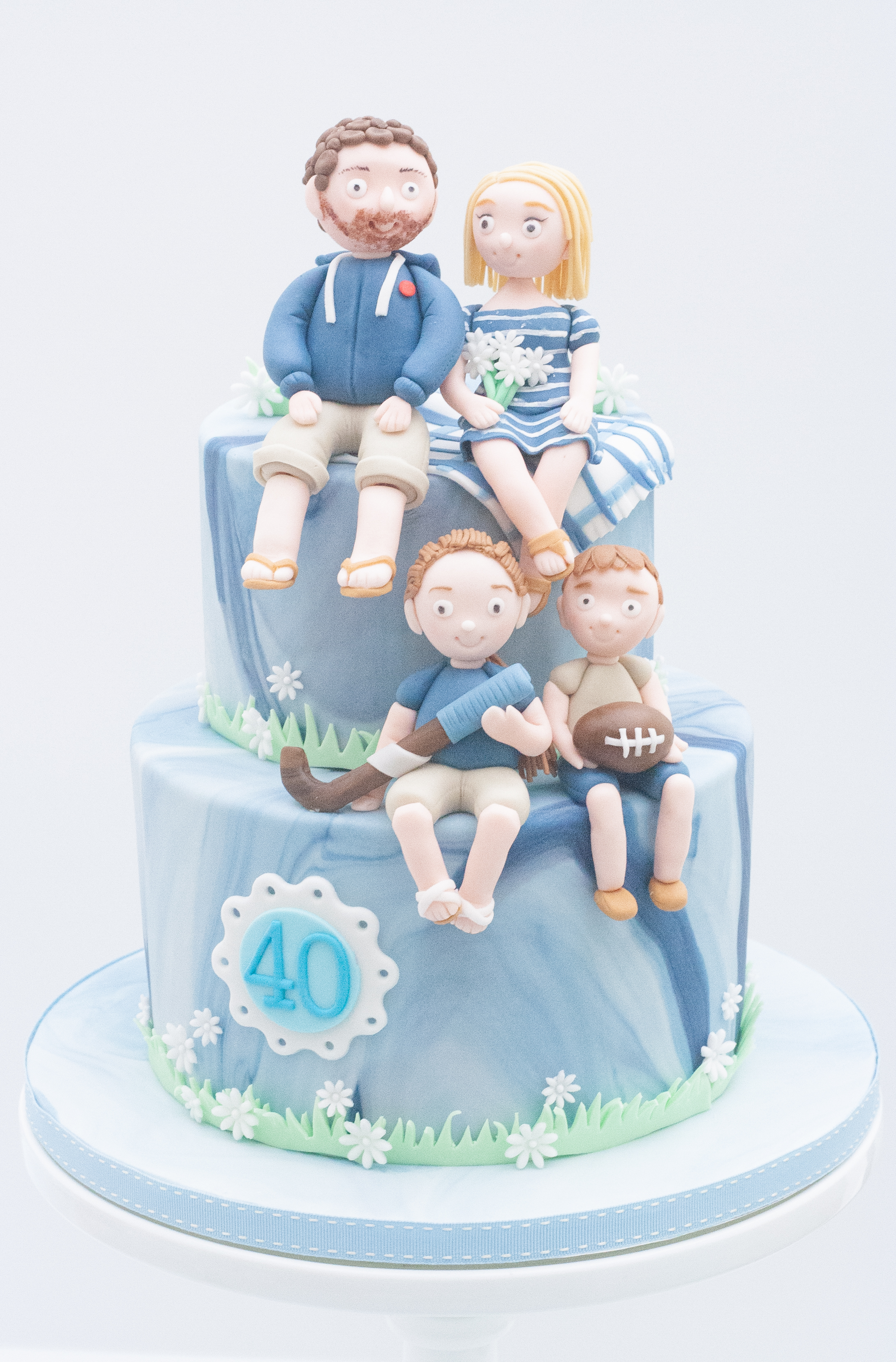 family blue marbled cake
