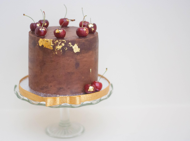 cherry choc ganached cake