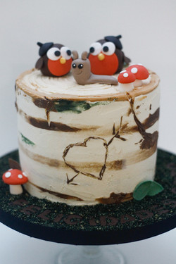 birch tree frosted cake