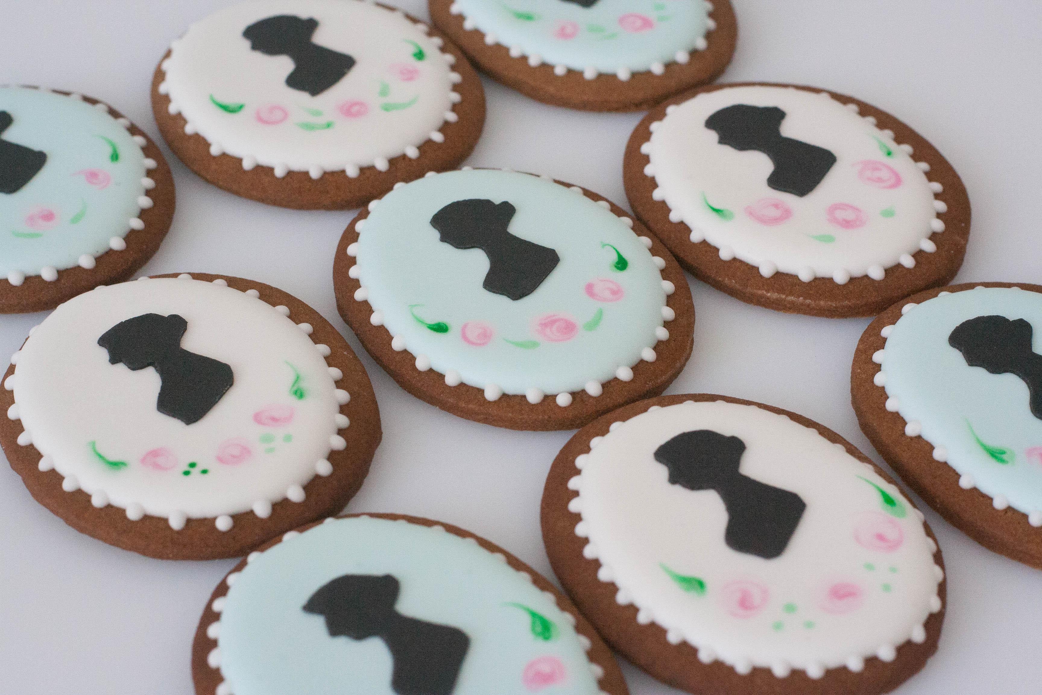 Jane Austen silhouette vegan cookies