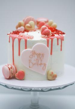 white choc raspberry birthday cake