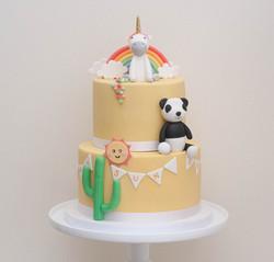 yellow unicorn panda cactus gf cake