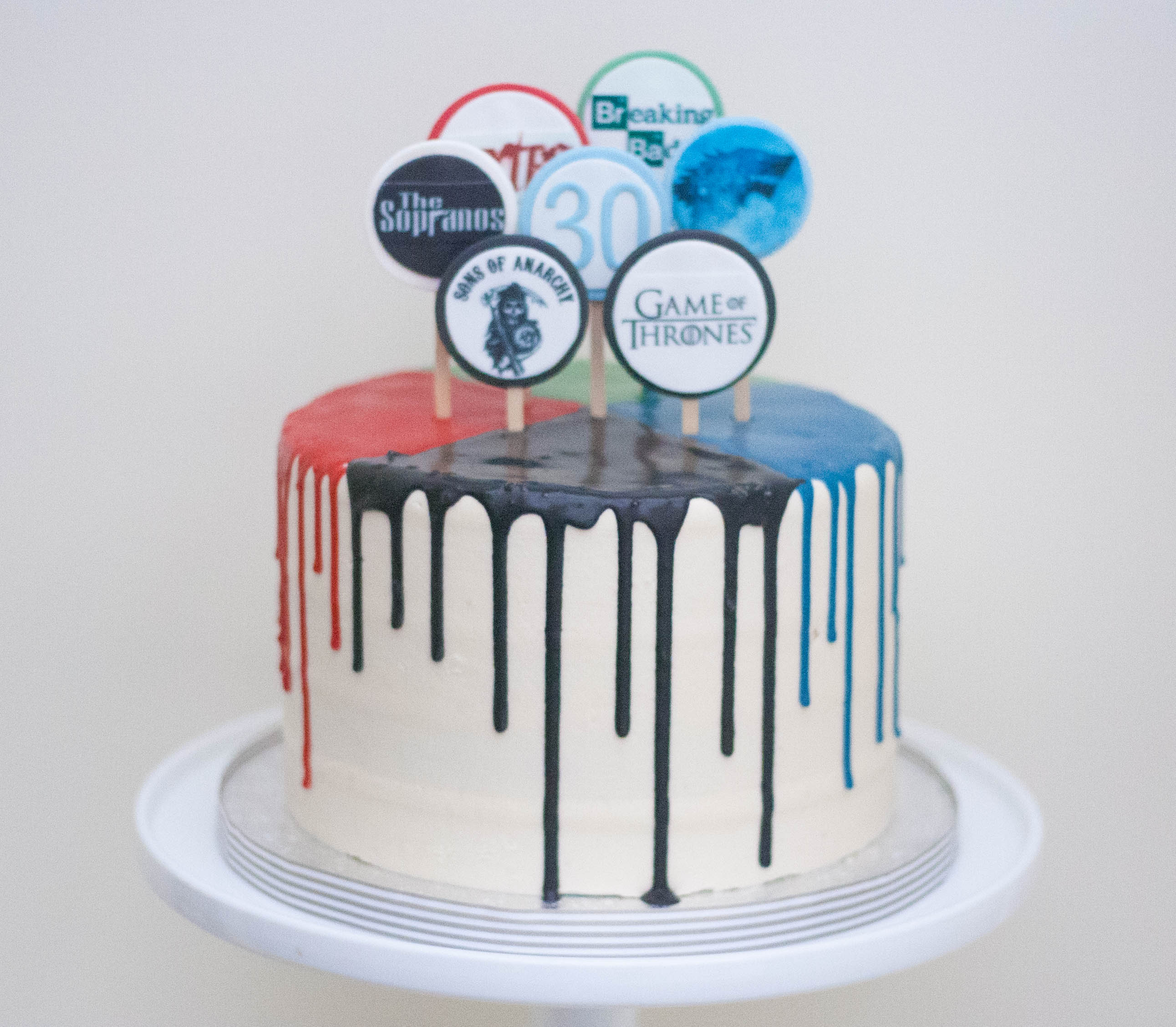 multi colour drip cake vegan