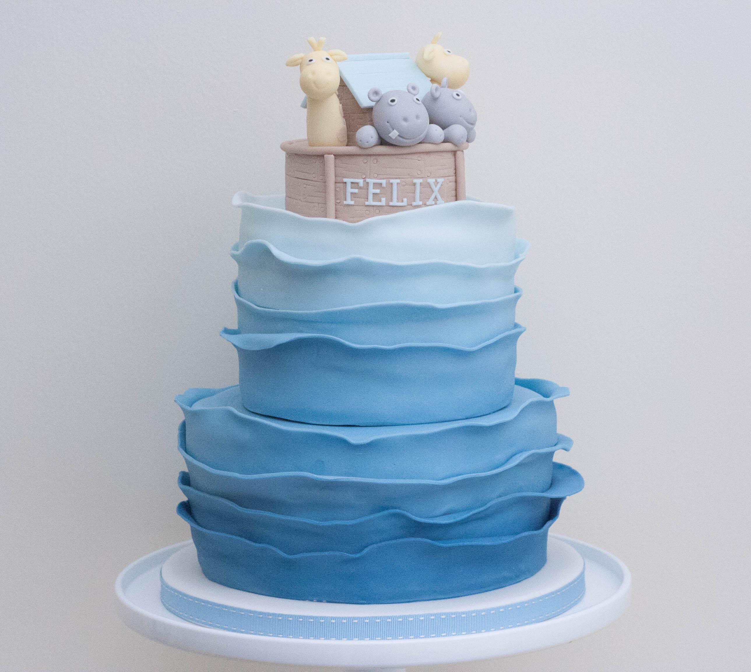Noah's ark waves cake