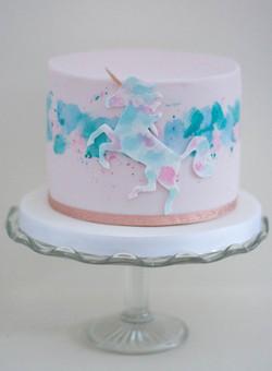 unicorm watercolour iced cake vegan