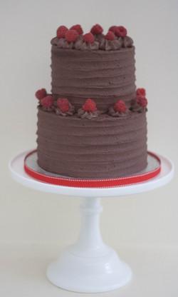 two tier choc raspberry vegan cake
