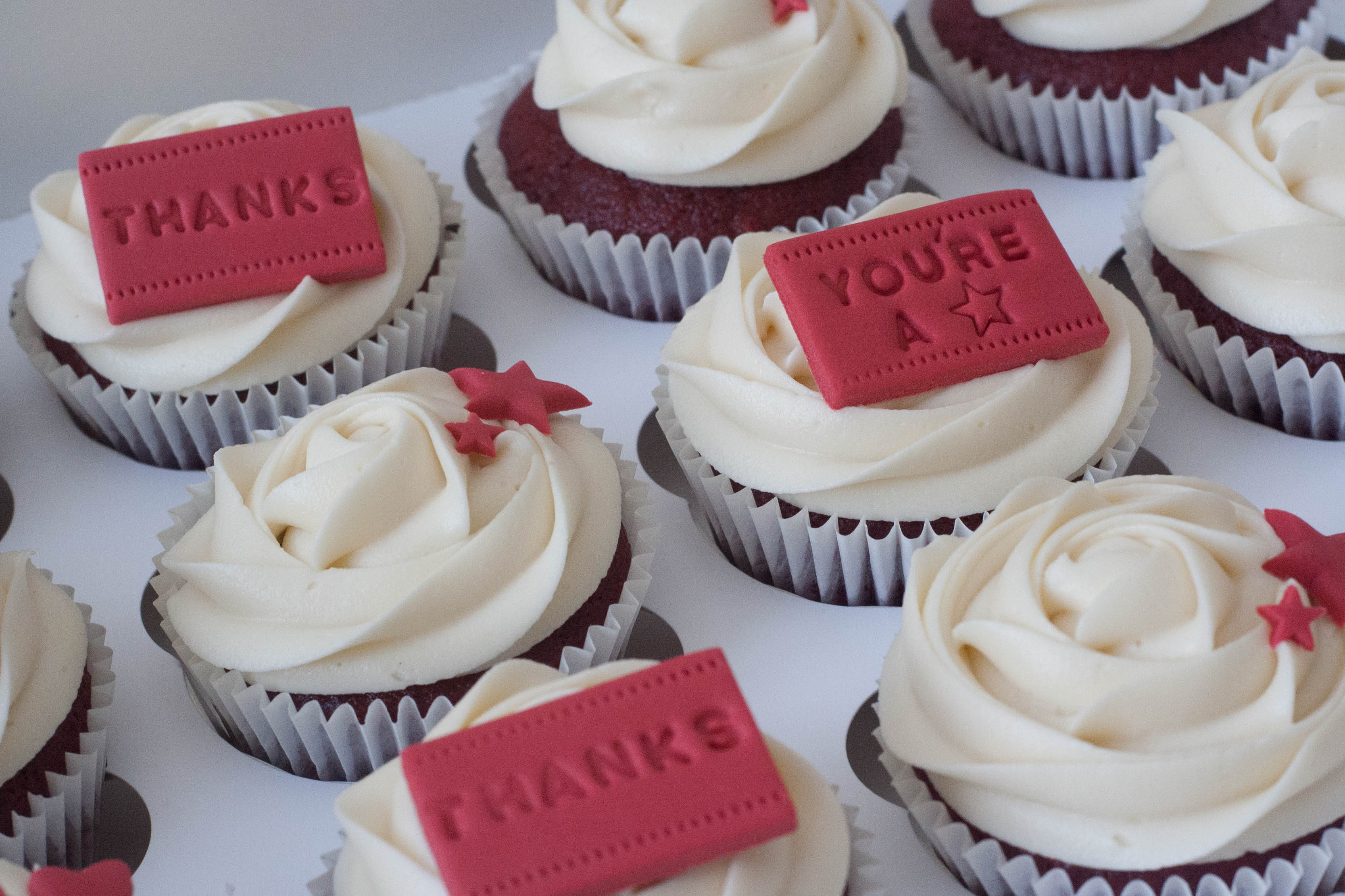 red velvet thank you cupcakes