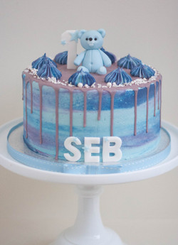 blue purple frosted vegan cake with tedd