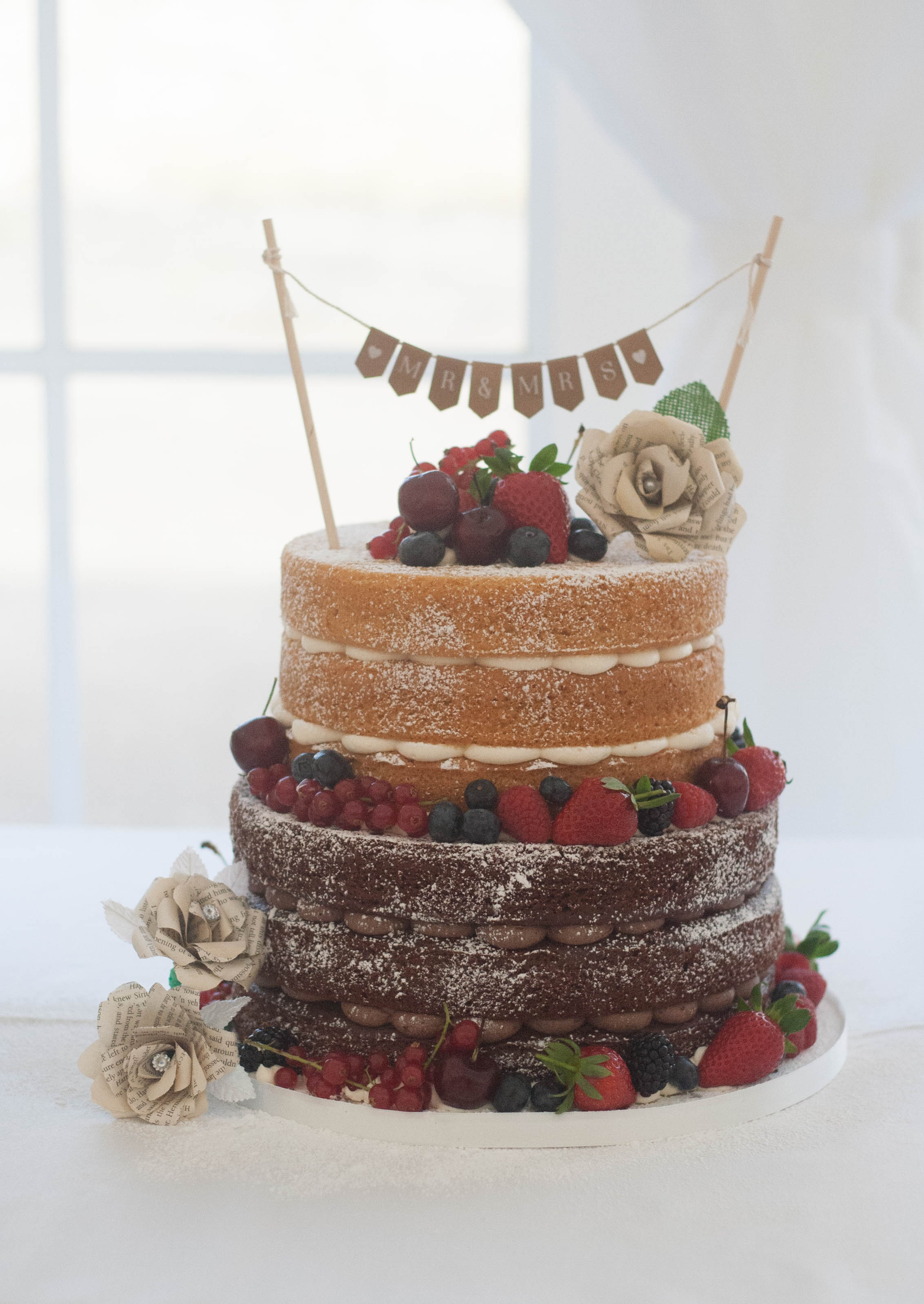 naked vegan wedding cake bunting
