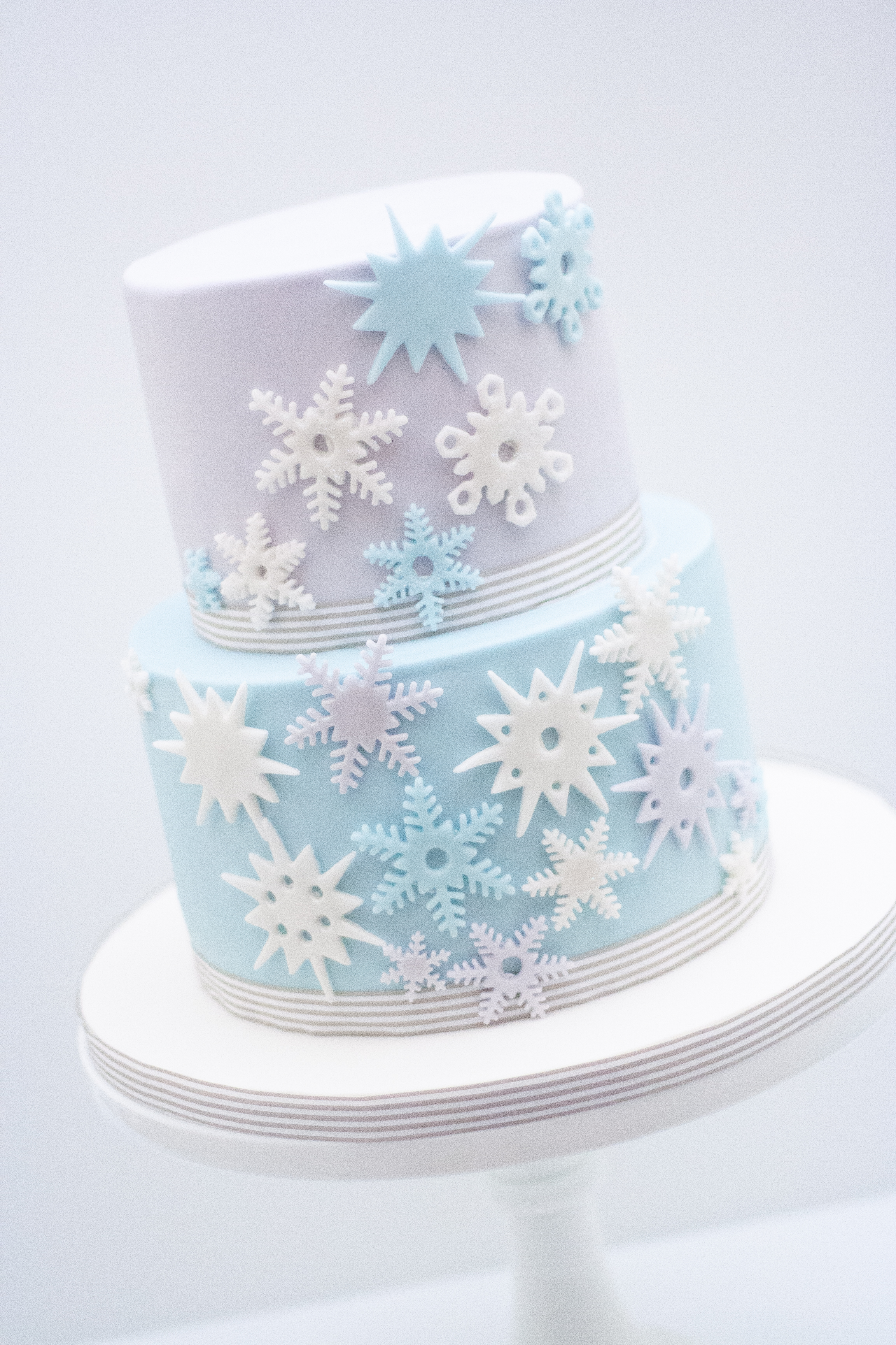 Two tier Frozen cake lilac blue_