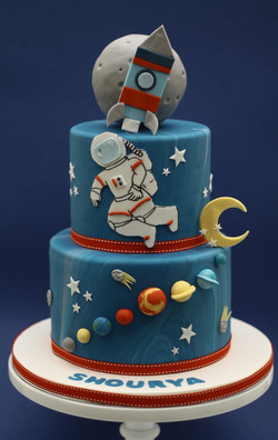 two tier space astronaut cake