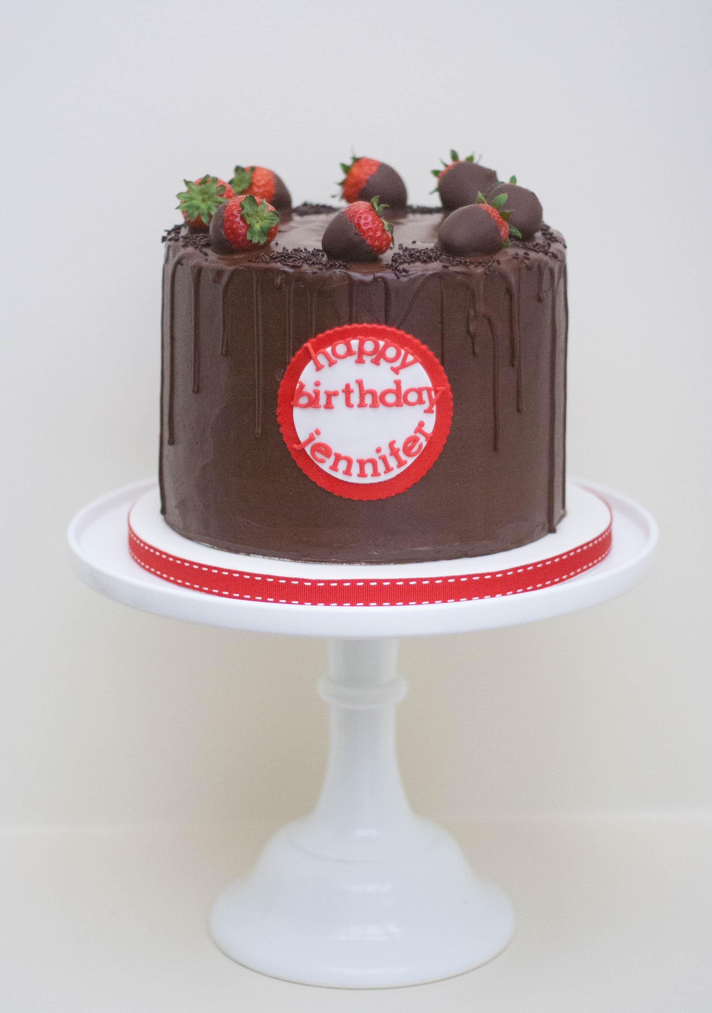 choc strawberry vegan drip cake