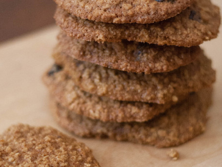 Vegan spiced oat and cranberry cookies