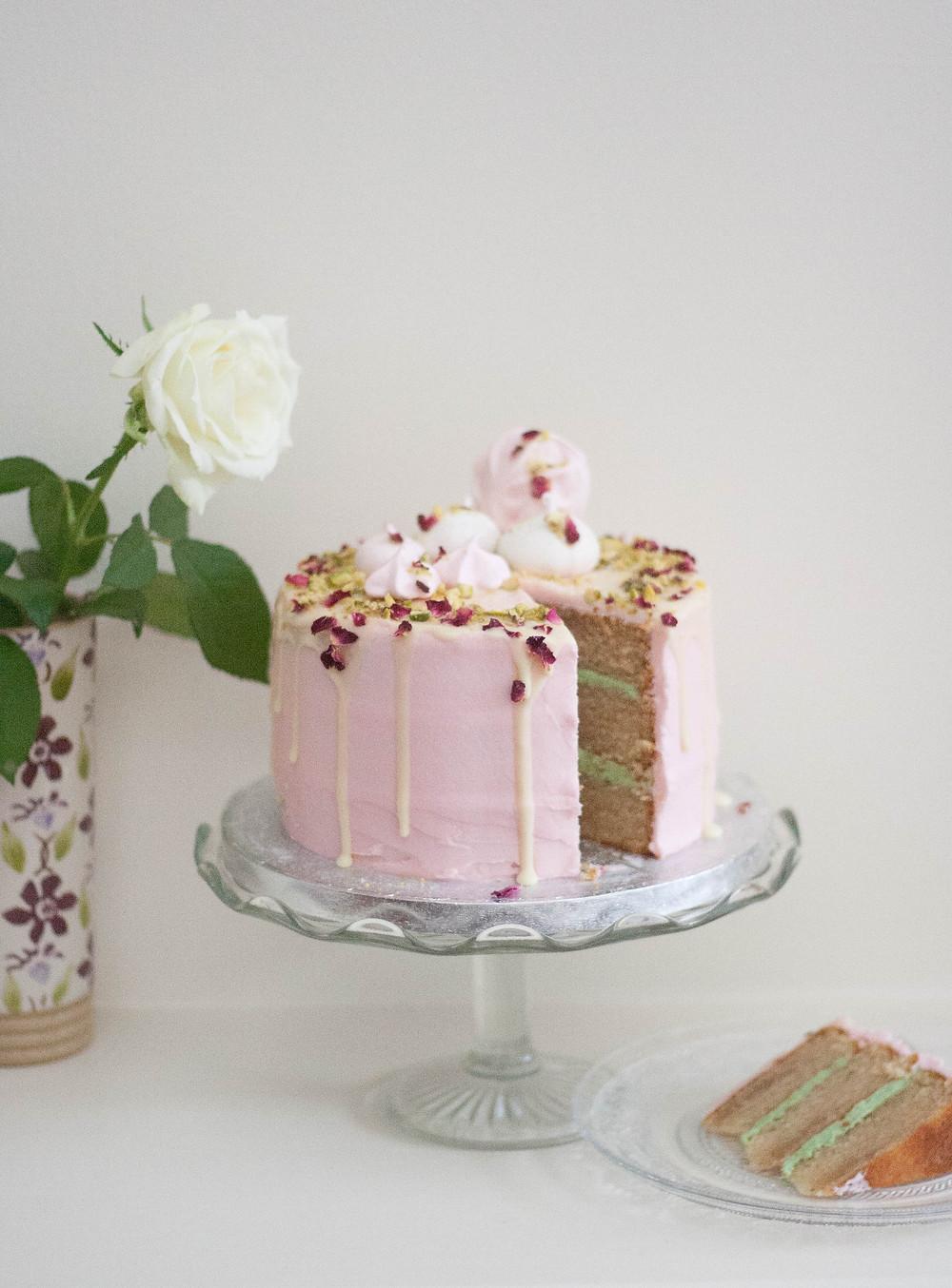 Vegan cardamom rose and pistachio cake
