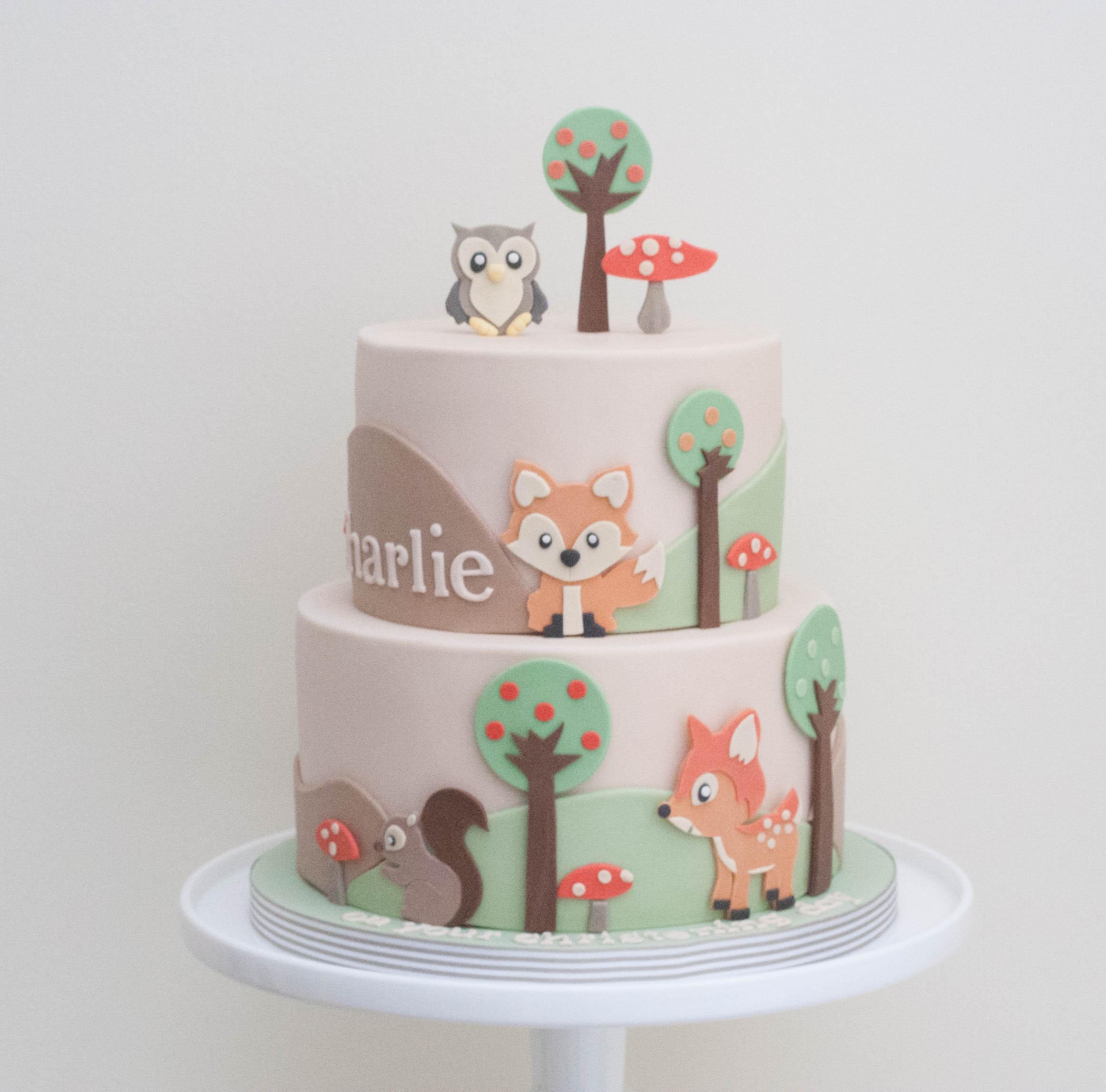 woodland two tier vegan cake