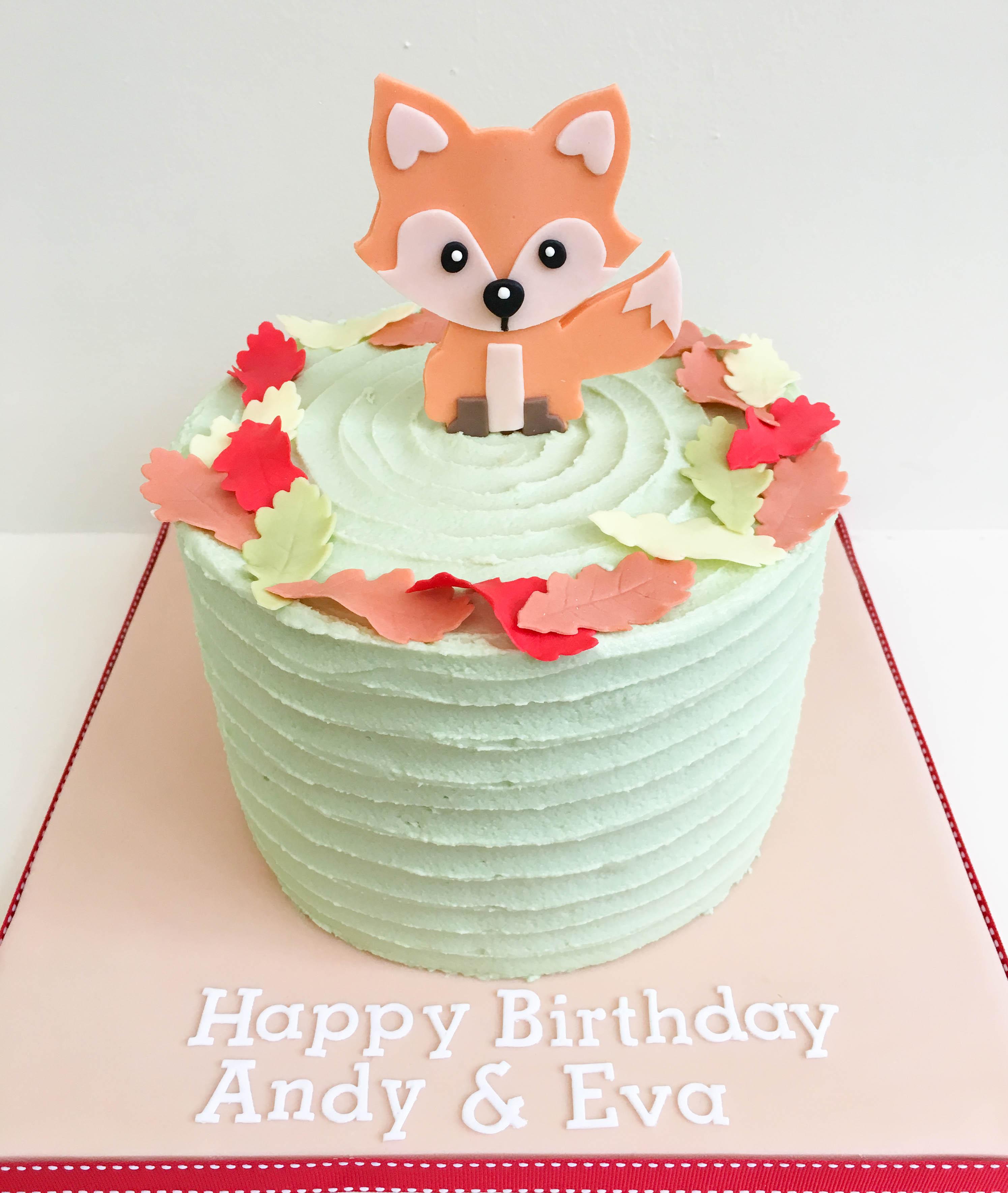 frosted autumn fox vegan cake