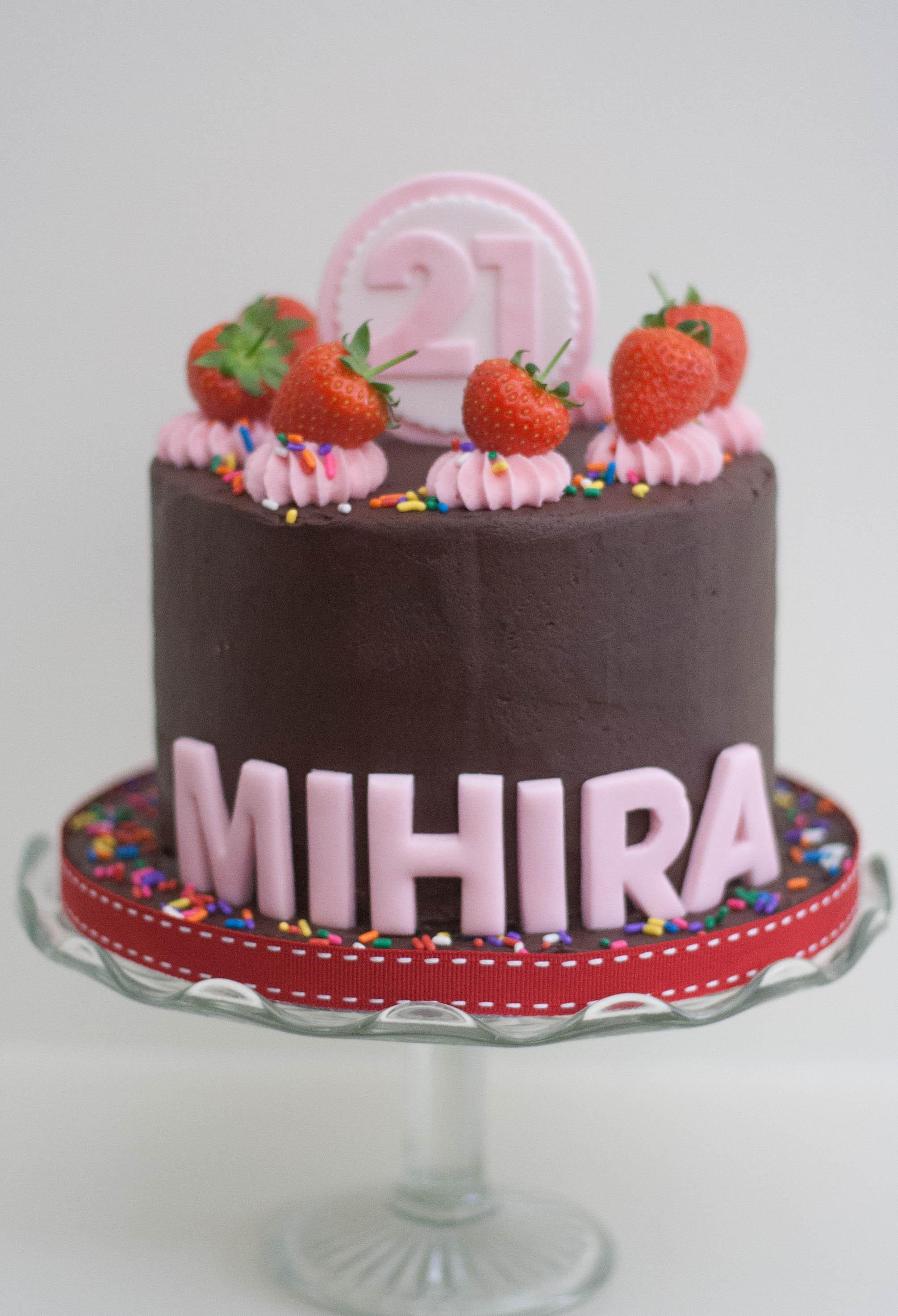 choc strawberry funfetti vegan cake